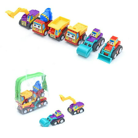 6pcs Classic Boys Girls Mini Pull Back Truck Vehicle Engineering Car Fire - Boys Carters Fire Truck