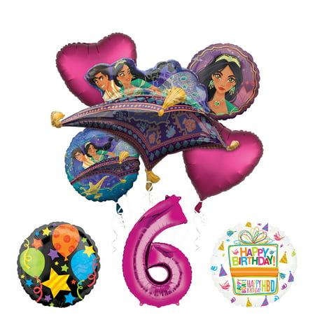 Princess Jasmine Birthday Party Supplies (Mayflower Products Aladdin 6th Birthday Party Supplies Princess Jasmine Balloon Bouquet Decorations - Pink Number)