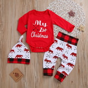 3PCS My 1st Christmas Baby Boy Girl Newborn Xmas Clothes Tops Romper+Long Pants Outfits Age For 0-18 Months