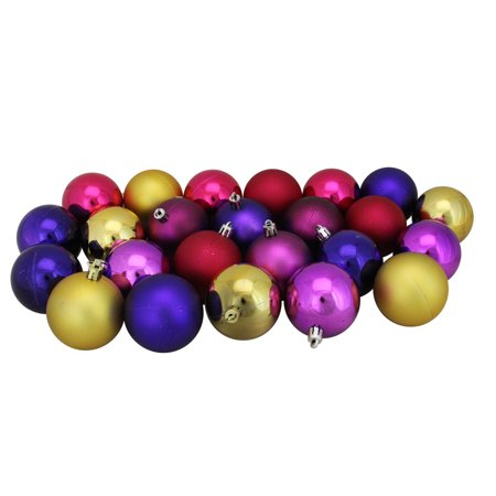 """24ct Pink, Purple and Gold Shatterproof Shiny and Matte Christmas Ball Ornaments 2.5"""" (60mm)"""