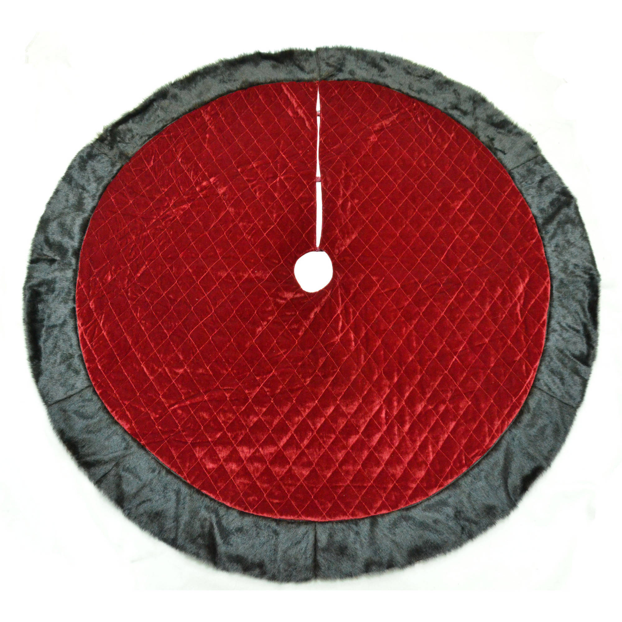 "Holiday Time 56"" Red Quilt Tree Skirt with Plush Trim"