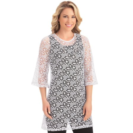 a09acbcbc0026f Collections Etc - Women s Flowing Crochet Tunic Top