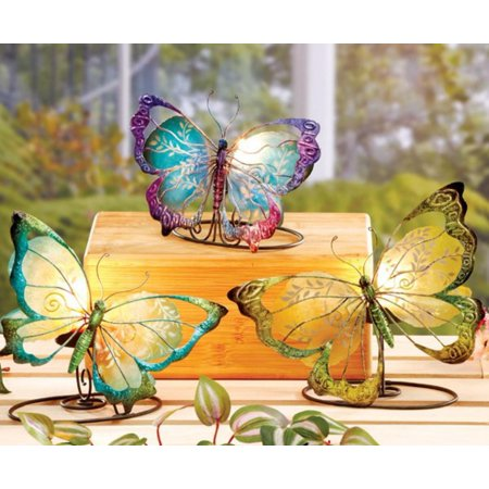 6 Small Blue, Green and Purple Capiz Shell Butterfly Tea Light Candle Holders 7