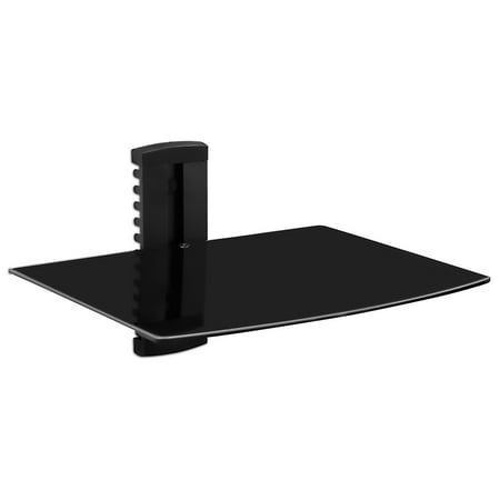 Tinted Tempered Glass Shelves - Mount-It! Floating Wall Mounted Shelf Bracket Stand for AV Receiver,Tinted Tempered Glass (MI-821)