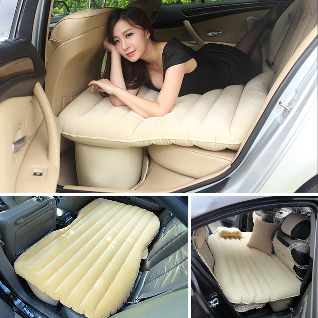 Inflatable Car Back Seat, PVC Waterproof Self-Drive Air Bed Inflatable Mattress With Air Pump for Rest Camping Travel