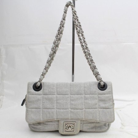 Chanel Classic Flap Quilted Chocolate Bar 868985 Gray Canvas Shoulder -