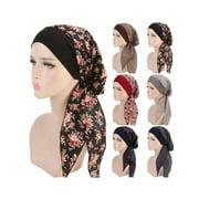 GuliriFei Muslim Bandana Hat Headwear Fashion Cancer Turban Women's Chemo Head Scarf Caps