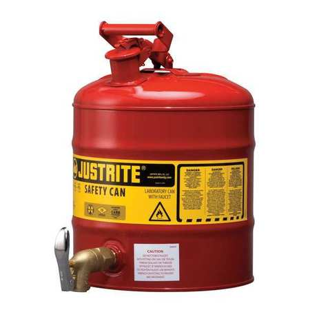 Type I Faucet Safety Can,5 gal.,Red JUSTRITE 7150150