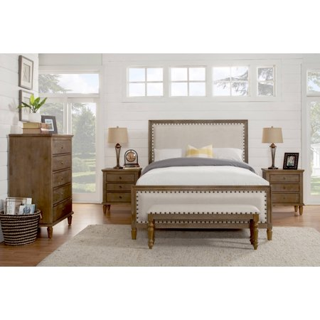 Cambridge 5 Piece King Bedroom Set With Solid Wood And Upholstered Trim In Oak Gray