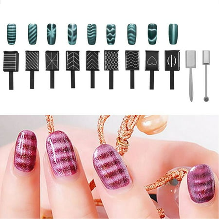ANGGREK 11Pcs/Set 3D Cat Eye Magnetic LED Polish Soak Off UV Gel Magnet Stick Manicure Nail Art Tools,Magnet, Cat Eye Magnet - Easy Halloween Cat Nail Art