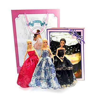 zhihu gift-wrapped 5pcs barbie dolls handmade fashion wed...