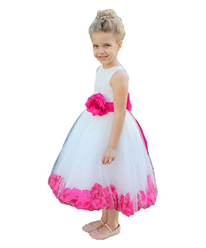 Flower Petals with Brooch Wedding Party Floral Gown Girl Dress Formal Recital