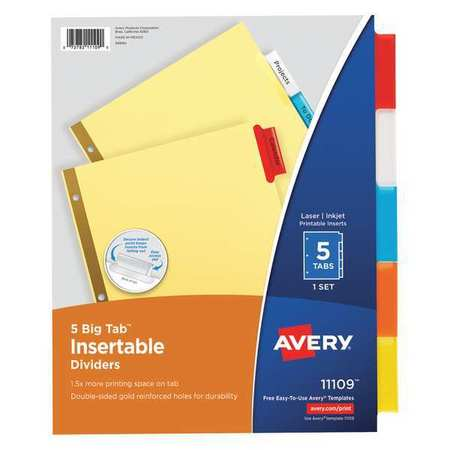 AVERY 11109 Index Tab Set, Insertable, 5 Tabs, Colored