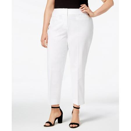 bd3dfeb61 Nine West Pants - White Womens Plus Straight-Leg Ankle Dress Pants $89 16W  - Walmart.com