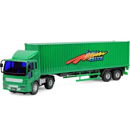 Volvo Tractor Trailer (Click N' Play Friction Powered Tractor Trailer Truck Toy Vehicle for Kids )