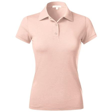 Womens Polo Shirts Slim Pique Comfort Dry Short Sleeve Uniform Golf Top ()