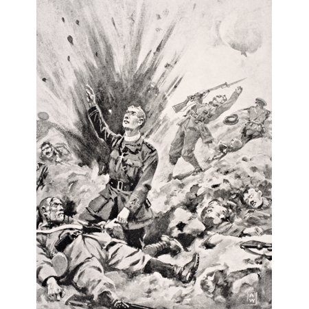 Reverend John Gwynn Chaplain To Irish Guards Giving Last Sacrament To Dying German Soldier Just Before He Himself Was Killed On Hill 70 At Battle Of Loos France October 1915 From The War Illustrated