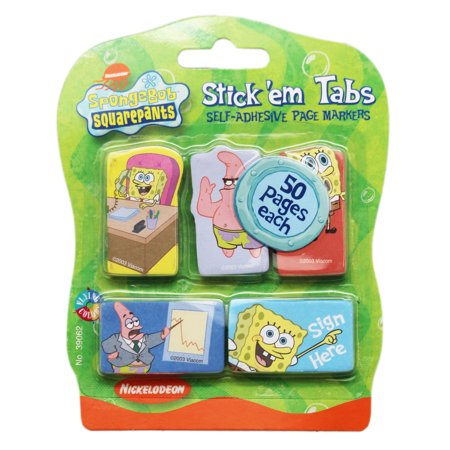 Spongebob Squarepants Small Stick'em Tabs Set (5 Pads, - Spongebob Walking Small