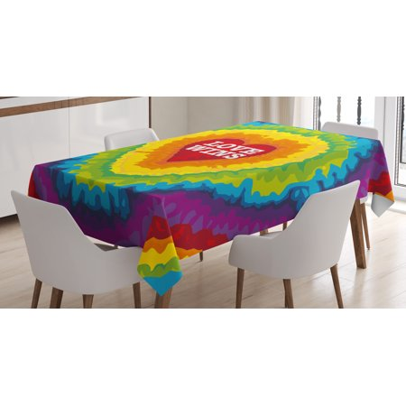 Pride Decorations Tablecloth, Love Wins Celebration Tie Dye Backdrop Rainbow Colors Happiness Vintage, Rectangular Table Cover for Dining Room Kitchen, 52 X 70 Inches, Multicolor, by Ambesonne - Tie Dye Tablecloth