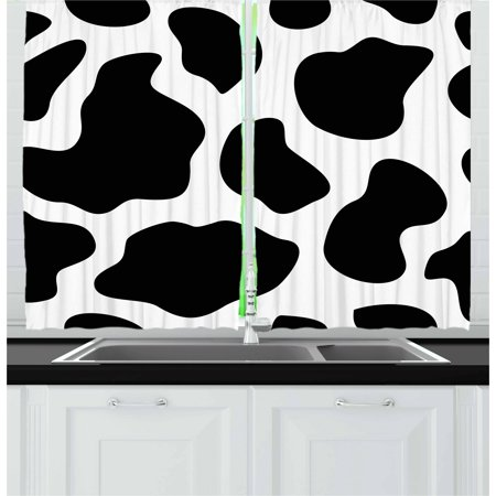 Cow Print Curtains 2 Panels Set, Hide of a Cow with Black Spots Abstract and Plain Style Barnyard Life Print, Window Drapes for Living Room Bedroom, 55W X 39L Inches, Black White, by (Panel Spot)