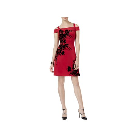 Scala Cocktail - ECI Womens Velvet Scuba Cocktail Dress Red 10