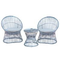 PatioPost Patio Furniture 3 Pcs PE Wicker Outdoor Garden Bistro Set with Table/Cushions,Seats 2,Grey