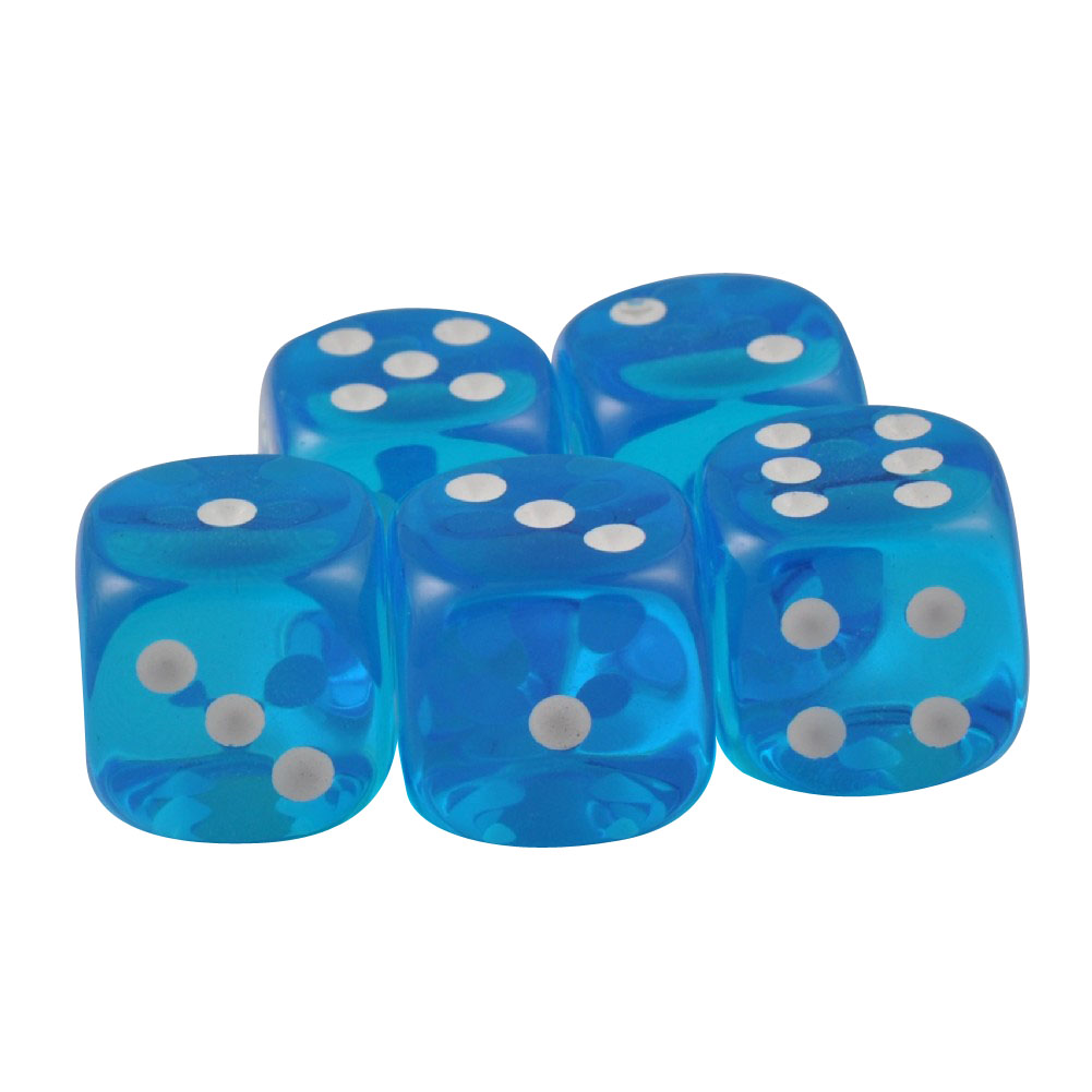 Set of 5 Turquoise Round Corner Transparent 16mm White Spots in Snow Organza Bag