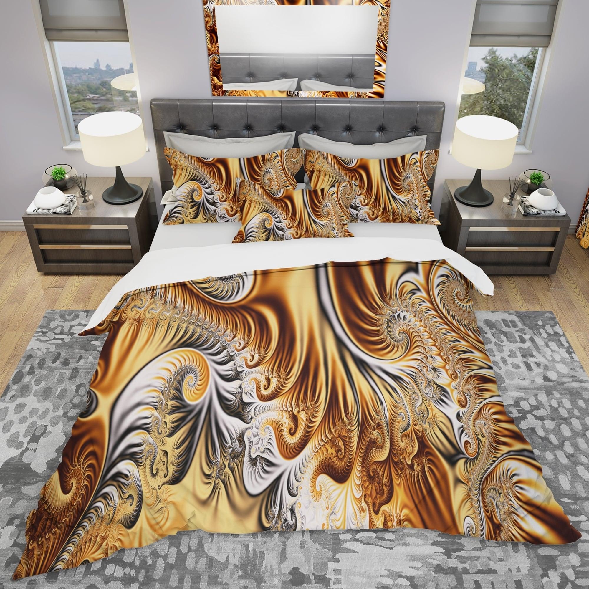 DESIGN ART Designart 'Gold & Silver Ribbons Abstract' Modern & Contemporary Bedding Set - Duvet Cover & Shams