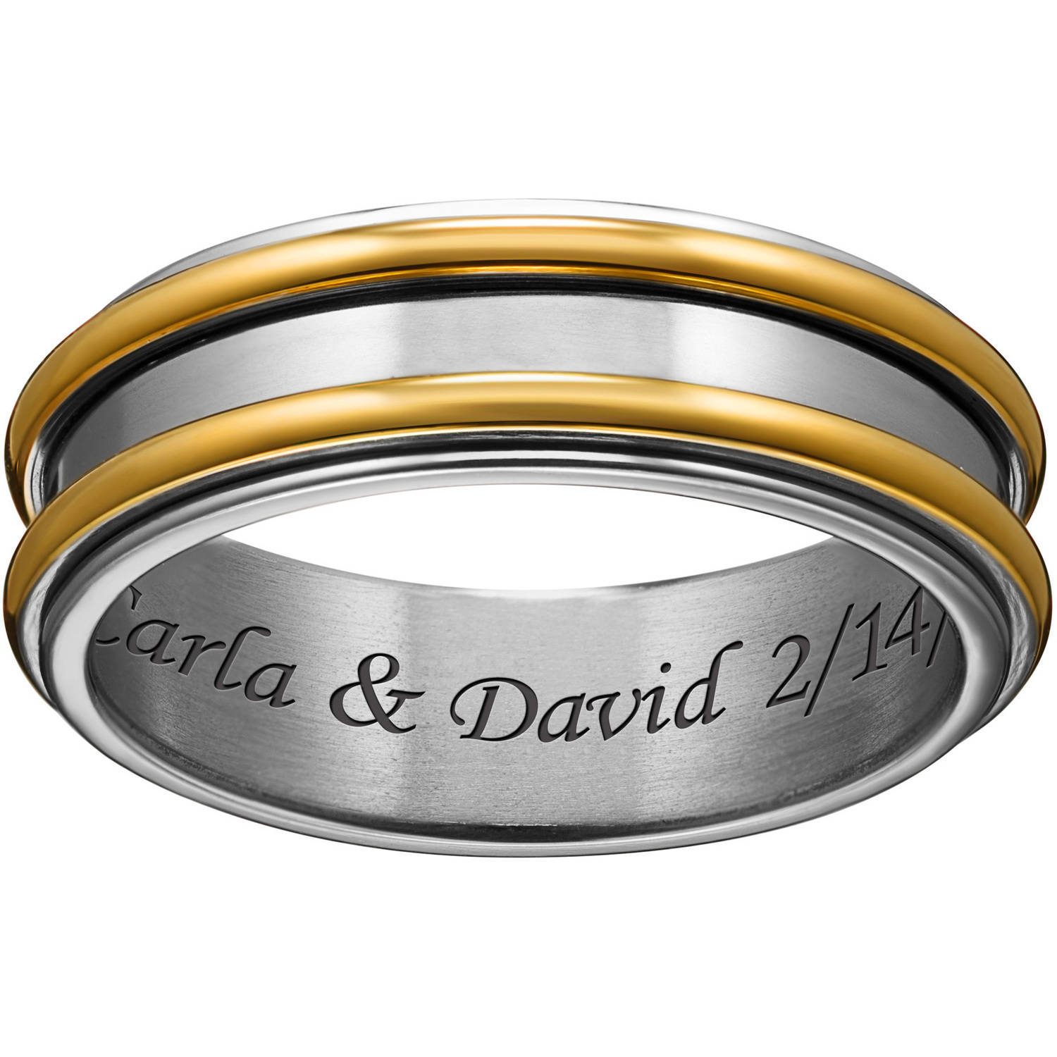 Personalized Titanium Two-Tone Polished Spinner Engraved Band