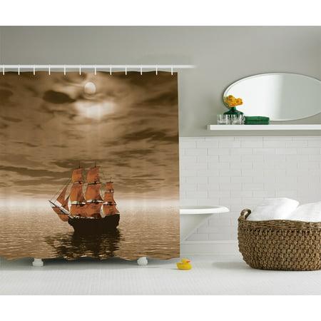 Ocean Decor Sailboat Waves Full Moon and Sky Art Print Fabric Shower Curtain Set