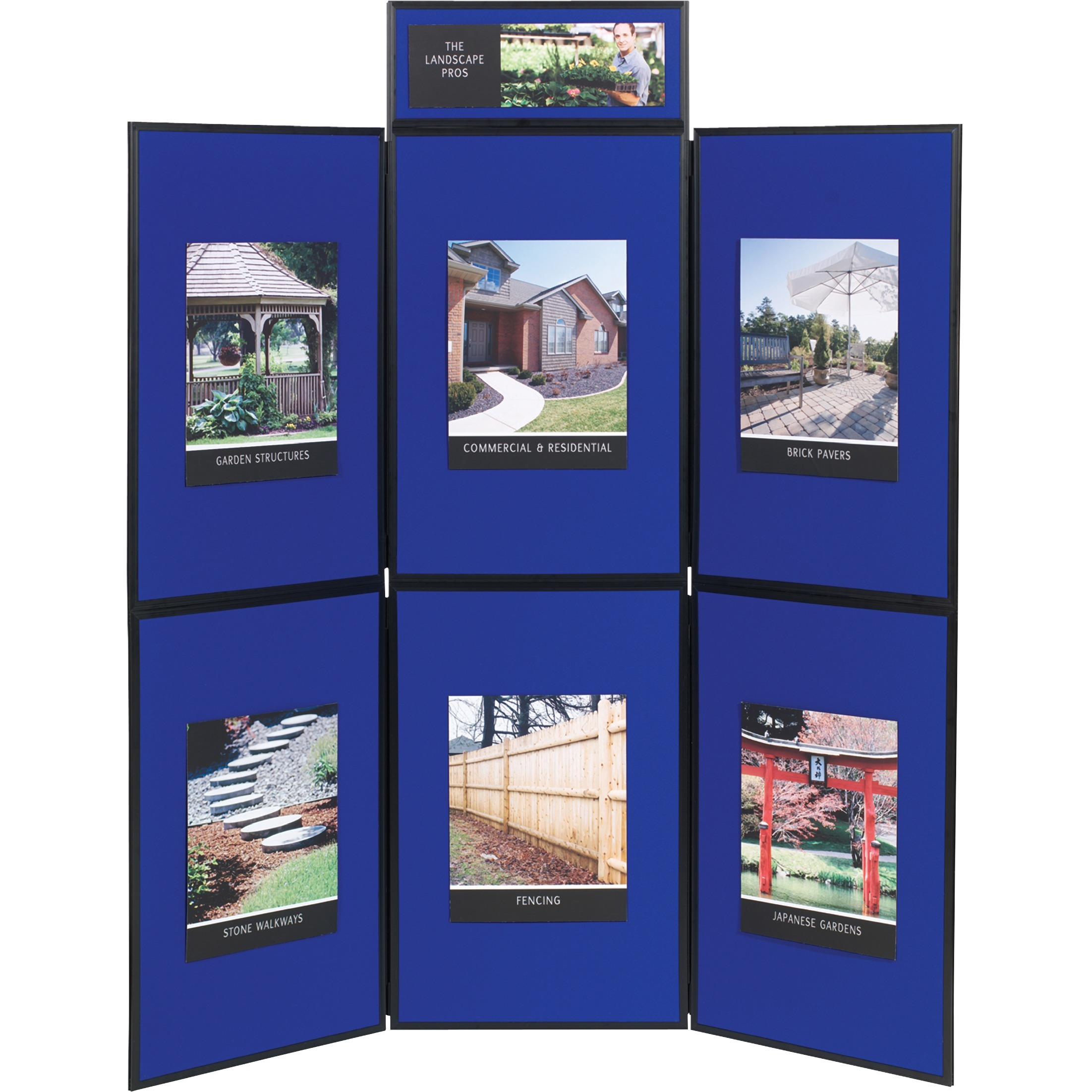 Quartet Show-It! 6-Panel Display System, 6' x 6', Double-sided, Blue/Gray