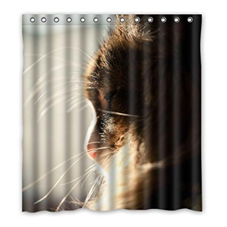 Ganma Animal Pet Yellow Cute Cats Shower Curtain Polyester Fabric Bathroom 66x72 Inches
