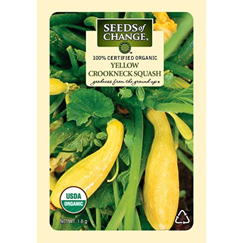 Seeds of Change Certified Organic Squash, Yellow Crookneck - 1.8 grams, 20 Seeds Pack
