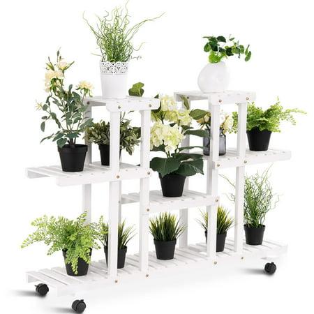 Rolling Flower Rack Wood Plant Stand Casters 12 Pots Bonsai ...