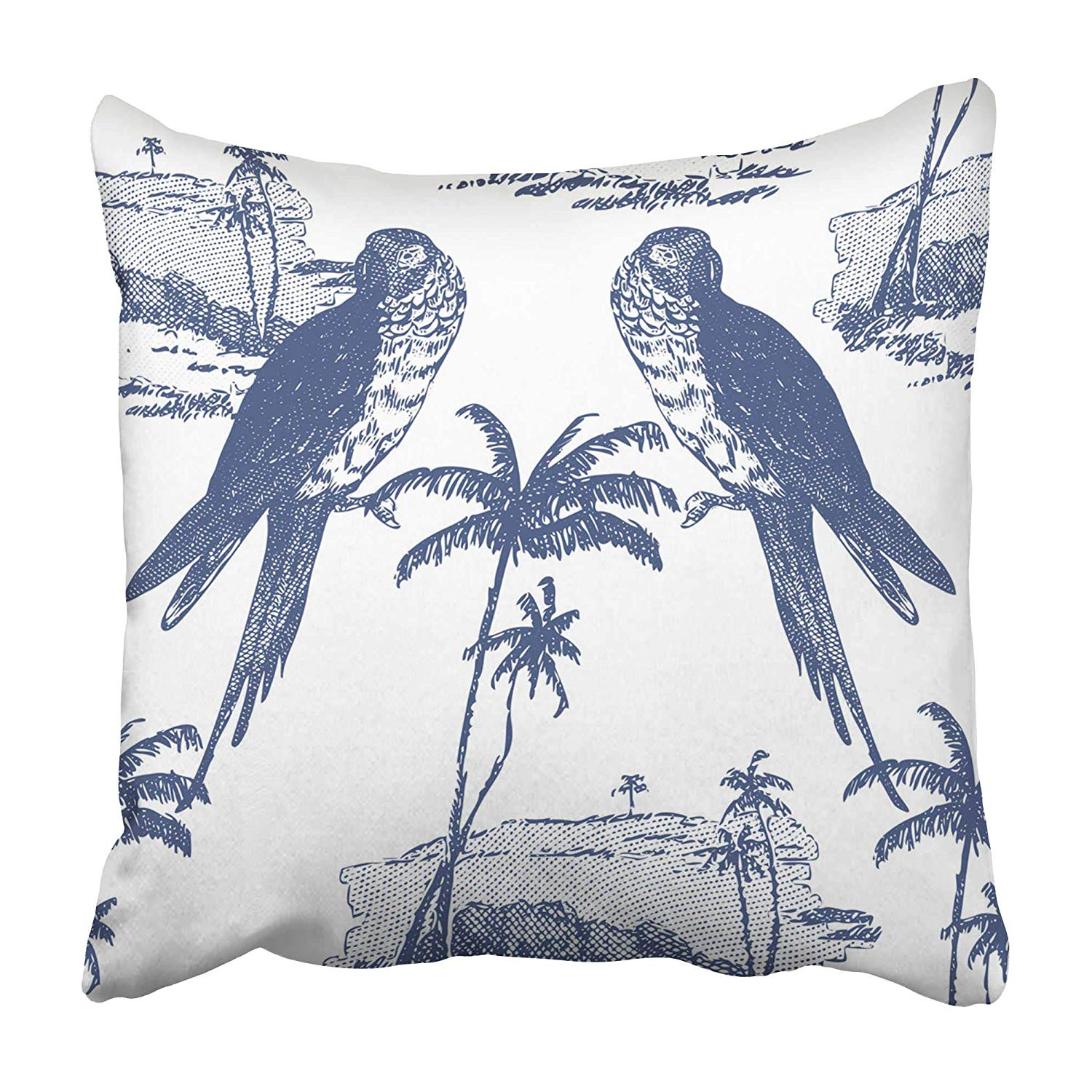 USART Blue Leaf Beautiful Vintage Floral Pattern Parrots and Palm Trees on White Botanical Pillowcase 20x20 inch