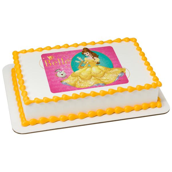 "Disney Princess Belle Loyal Friends 2"" Round Cupcake Sheet Image Cake Topper Edible Birthday Party"