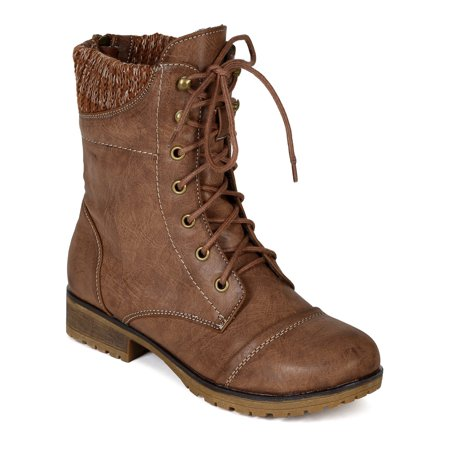 BI33 Women Leatherette Sweater Trim Lace Up Mid Calf Combat Boot