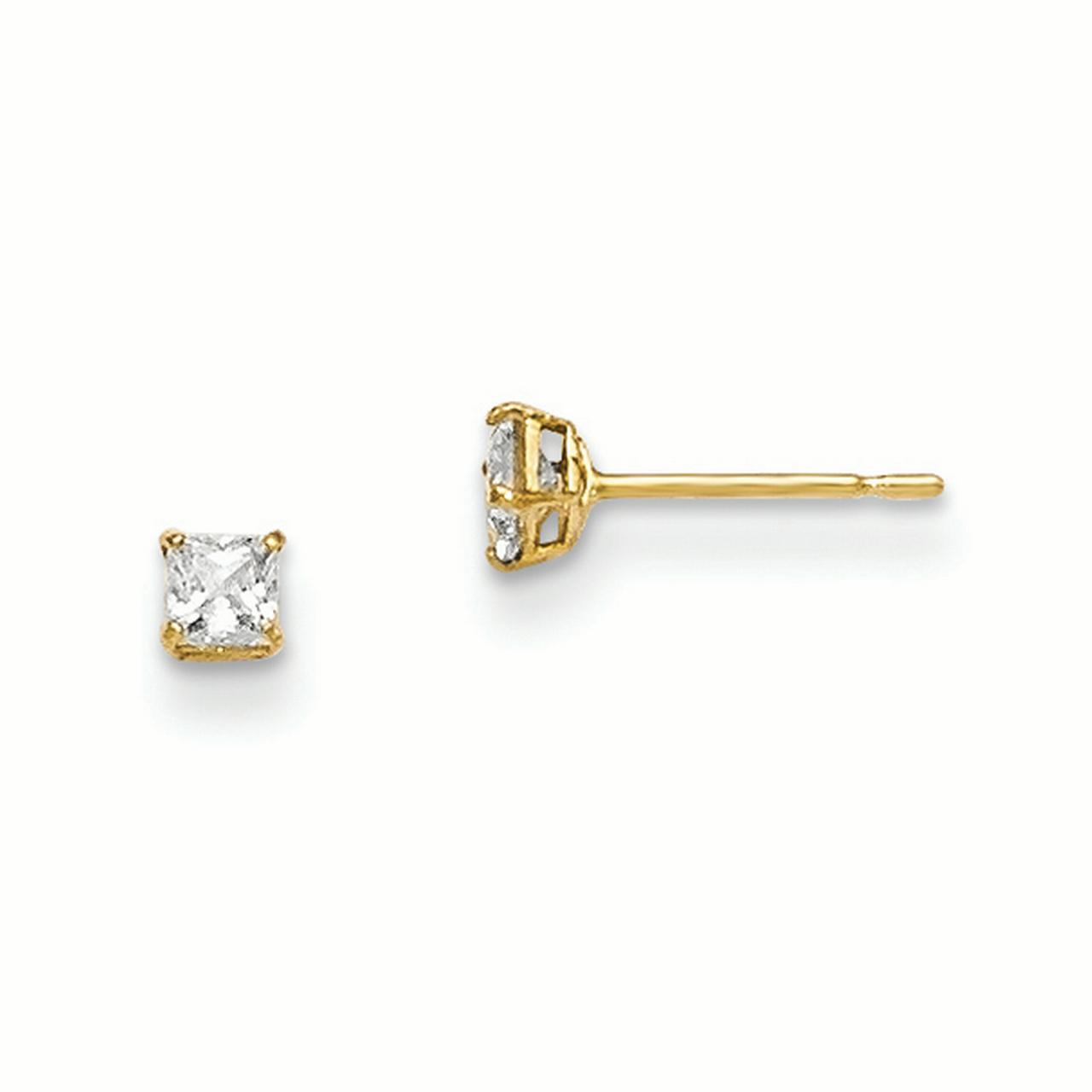 14k Yellow Gold 2.5mm Square Cubic Zirconia Cz Basket Set Stud Earrings Fine Jewelry Gifts For Women For Her - image 4 de 4