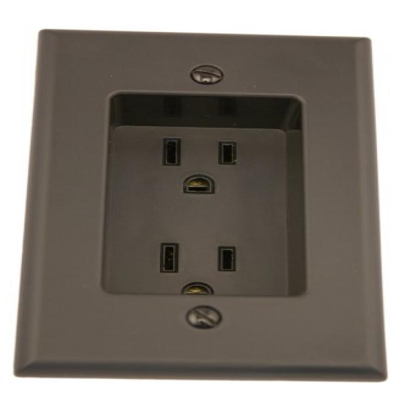 Leviton 689-E 15 Amp 1-Gang Recessed Duplex Receptacle, Residential Grade, with Screws Mounted to Housing, Black