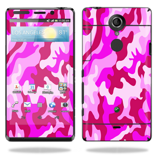 Mightyskins Protective Vinyl Skin Decal Cover for Sony Xperia TL Cell Phone AT&T wrap sticker skins Pink Camo
