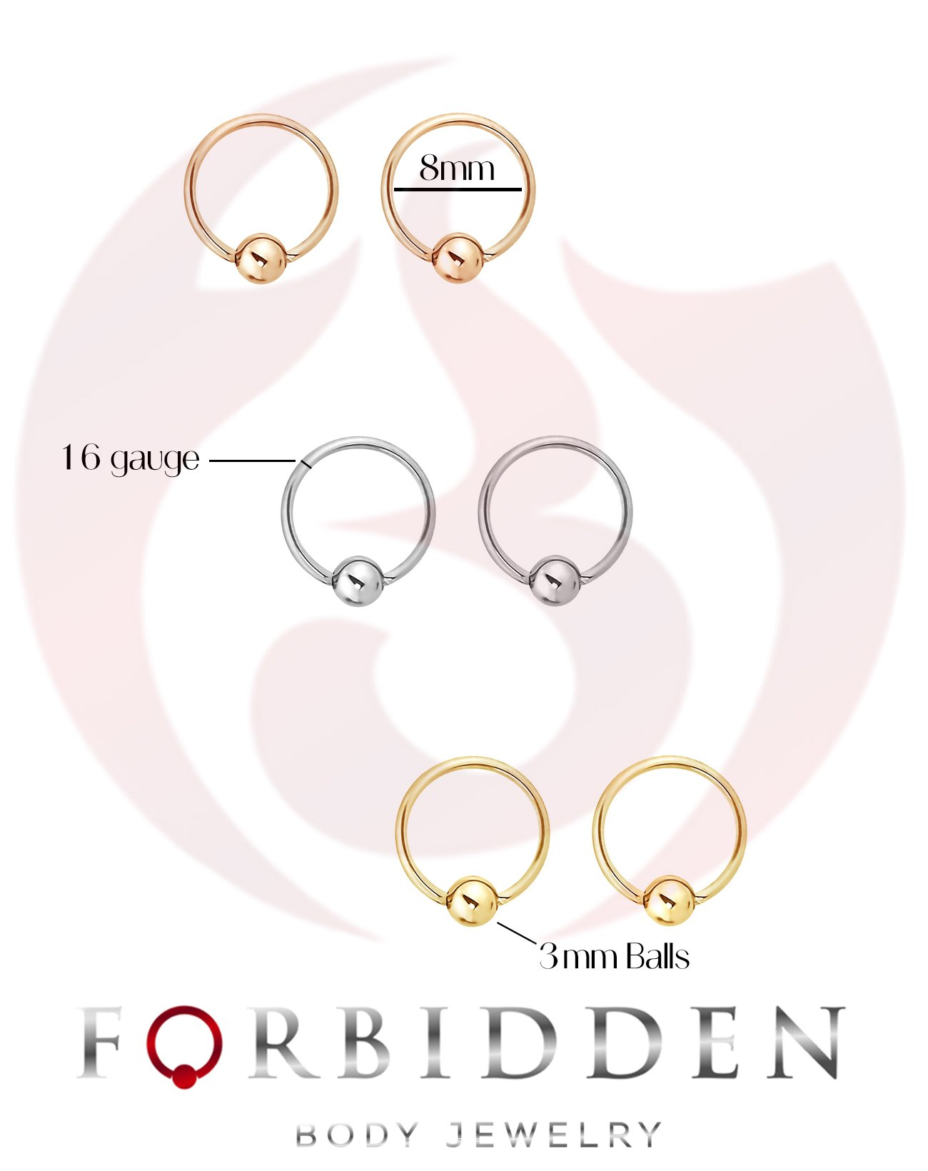 Cartilage /& More Forbidden Body Jewelry 6pc Value Pack 14G-16G Surgical Steel Horseshoe//CBR Ring for Septum