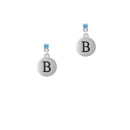 Capital Letter   B   Pebble Disc    Hot Blue Crystal Post Earrings