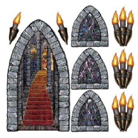 Club Pack of 108 Medieval Stone Insta-Theme Halloween Castle Prop Decorations - Medieval Castle Decorations