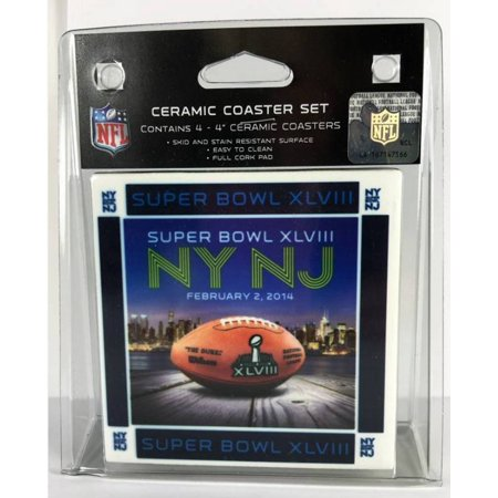 Boelter Brands Nfl Super Bowl Xlviii  February 2  2014 Ceramic Coaster Set Of 4