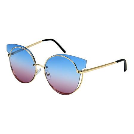 Edge-I-Wear Women Cat Eye Cutout Metal Sunglass with Flat Lens (Women With Cat Eyes)