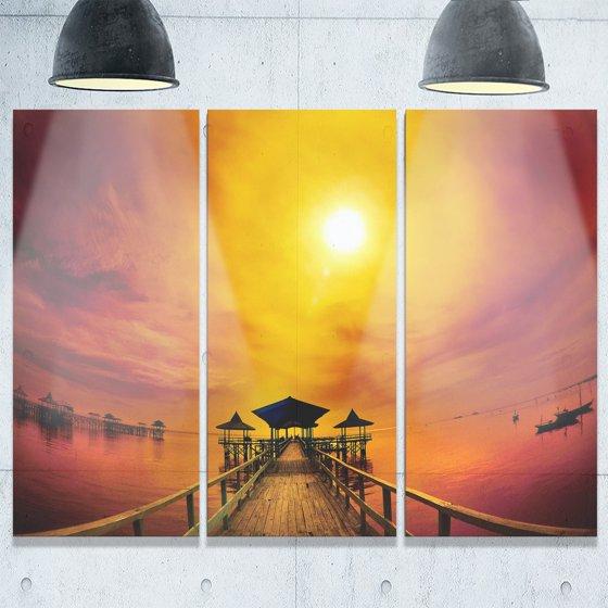 DESIGN ART Designart - Exotic Wood Pier under Yellow Sun - Sea ...