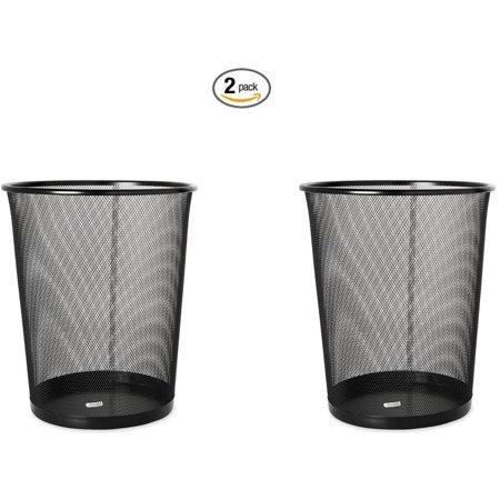 Mesh Round Wastebasket, 11-1/2 Diameter x 14-1/4 H, Black (22351) (2, Black), Durable wire mesh construction By Rolodex