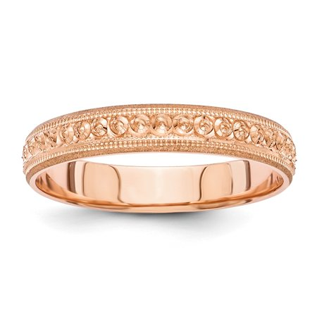 Roy Rose Jewelry 14K Rose Gold 3mm Etched Design Wedding Band Ring Size 5