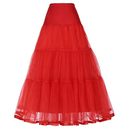 TOPTIE Women's Vintage Rockabilly Petticoat Skirt Tutu 1950s Underskirt Bridal Party Cosplay Dress-Long Red-M/L