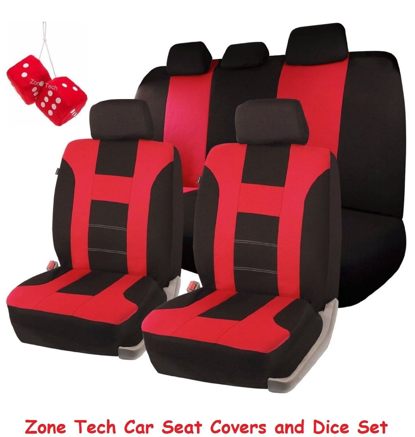 Zone Tech Universal Fit Premium Quality 100% Waterproof Breathable Full Set of Red and Black Racing Style Seat Covers + Pair of Bold Red Plush Hanging Fuzzy Dice Set